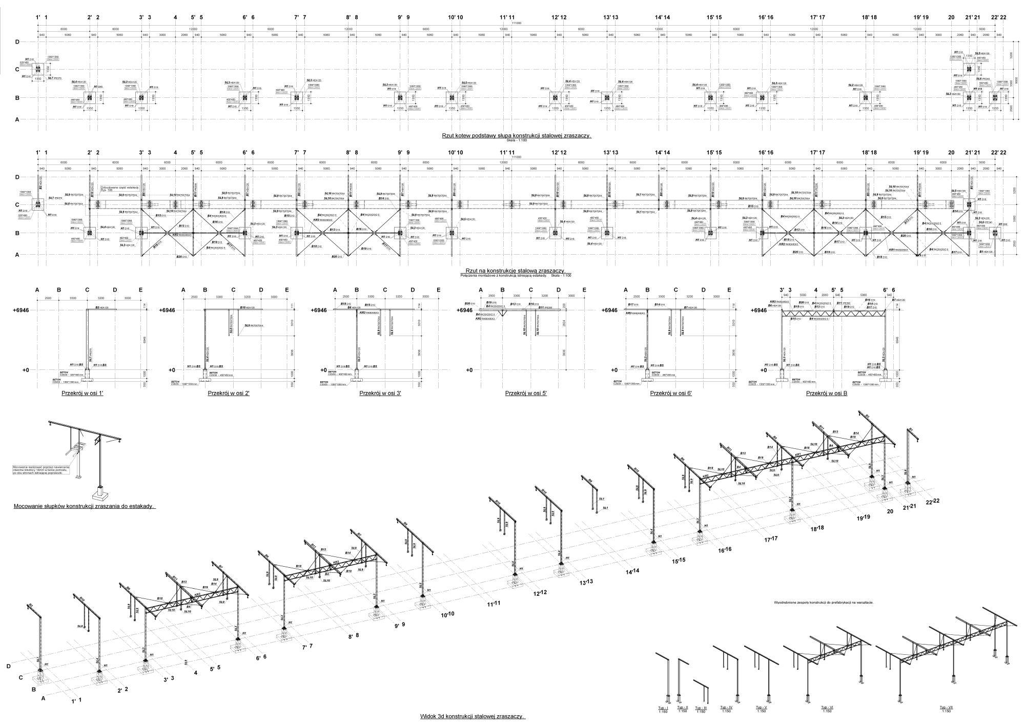 Projekty konstrukcji budowlanych i inżynierskich, rysunki montażowe konstrukcji.