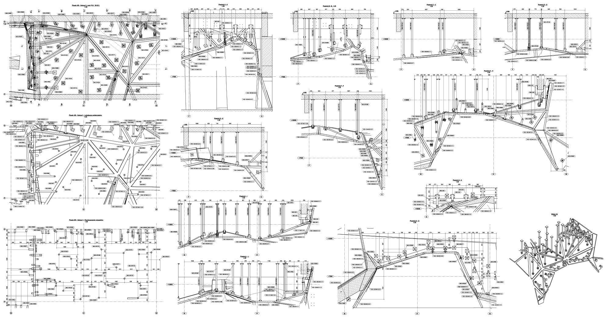 Projektowanie konstrukcji budowlanych i inżynierskich, rysunki montażowe konstrukcji.