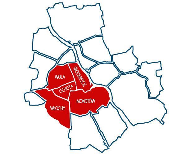 Warszawa, dzielnice skupu gruntów.